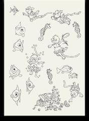 Skizzenblatt Werbefiguren