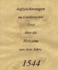 Archiv Aufzeichnungen aus dem Jahre 1544