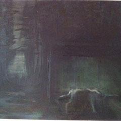 """Streunender Wolf"" 2010, Öl auf Leinwand, 80x100"