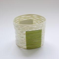 Transform mit zwei gelbgrünen Feldern | 2004-5, H: 89 mm, Limoges-Porzellan