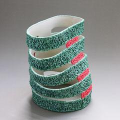 Schnittform, grün/rot | 2003, H: 123 mm, Limoges-Porzellan