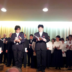 Erstmalig in ihrer neuen Funktion als musikalische Leiterin: Saiko Yoshida-Mengk (links), und unsere männlichen Solisten Noriyuki Sawabu und Soichi Kobayashi