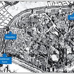 Johannes Corputius 1566, Detail aus dem Stadtplan Duisburg schwarz-weiß, die blau markierten Standorte Kuhtor, Stapeltor und  Koblenzer Turm zeigen den Verlauf des Baum-Pfades.
