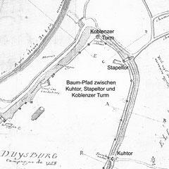 Plan de Duysbuorg von 1758, gefertigt von  französischen Besatzungstruppen, Detail mit Sationben des Baum-Pfades