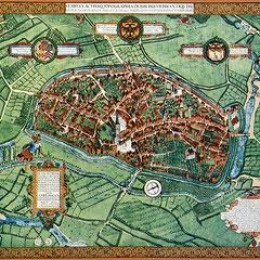 Johannes Corputius 1566, Stadtplan Duisburg coloriert