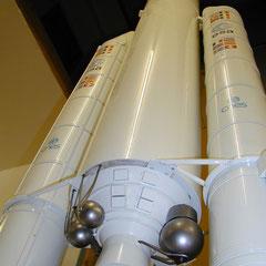 Ein Raketenmodell, das wir für das Ariane-Raumfahrtprogramm der ESA gebaut haben.