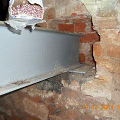 Узел опоры двутавровой балки в кирпичной стене