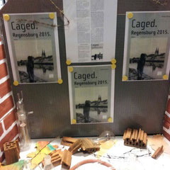 Schaufenstergestaltung zum Schülerroman Caged.