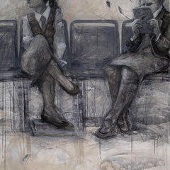 "Timeout No. 2, 2014, charcoal, graphite and acrylic on birch panel, 60"" x 45"" x 3"""
