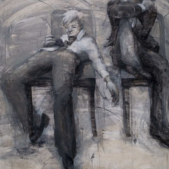 "Timeout No. 3, 2014, charcoal, graphite and acrylic on birch panel, 60"" x 45"" x 3"""
