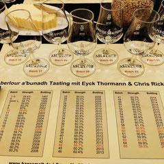 Die Übersicht über alle Batches (Whisky im Tasting sind rot gekennzeichnet).