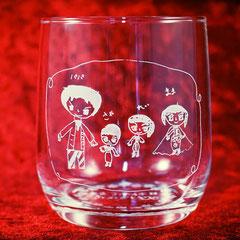 父の日 母の日 お子さん 手描き イラスト そのまま 彫刻  オリジナル グラス ジョッキ 名入れ オーダーメイド ギフト 格安 製作 東京 名前 オーダー
