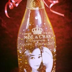 誕生祝 写真  金箔入り ワイン シャンパン  世界で1つ  オーダーメイド 名入れ ロゴ入れ 格安 オリジナルボトル 製作 東京