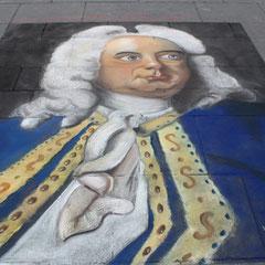 händel in blau, strassenmalerei lydia hitzfeld, halle 2009