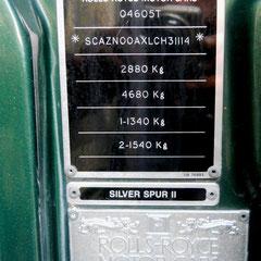 Rolly Royce Silver Spur, Typenschild aus gefrästem Edelstahl!