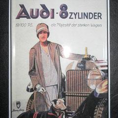 """Audi Blechschild """"8-Zylinder Die Majestät der starken Wagen"""""""