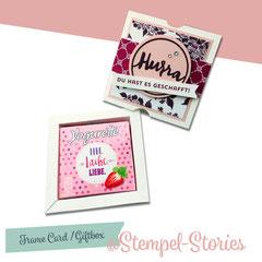 Zur Prüfung:  Bilderrahmen inkl. Banderole (8,50 €) (anstatt Schokolade kann die Schachtel auch mit einem Dekoelement wie Schmetterling, Herz, Blume, ... dekoriert werden )