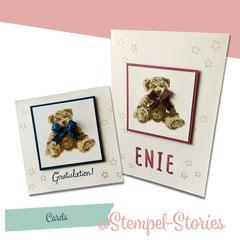 Zur Geburt:   Teddybär mit Schleife inkl. Umschlag (Folie oder Papier) /Innen sind die Karten noch mit einem Spruch versehen: 4,50 €