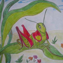 """Ілюстація до вірша Дж. Кітса """"Про коника та цвіркуна"""" учня 5 класу Вальчука Володимира"""