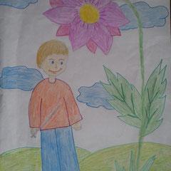 """Ілюстрація до казки """"Іссумбосі, або Хлопчик-мізинчик"""" учениці 5 класу Бочелюк Світлани"""