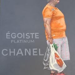 Gemälde 639,EGOISTE CHANEL, Acryl auf Hartfaserplatte,2019, 30 x 40 cm
