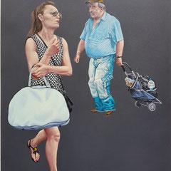 Gemälde 589,BOTTEGA, Acryl auf Hartfaserplatte,2018, 60 x 80 cm