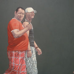 Gemälde 434  Karierte Jungs Acryl auf Leinwand,2013, 165 x 175 cm