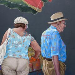 Gemälde  466 Mütze und Hut, Acryl auf Hartfaserplatte,2014, 50 x 60 cm