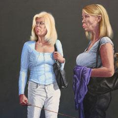 Gemälde  467 Hunde mit Frauen, Acryl auf Hartfaserplatte,2014, 50 x 60 cm