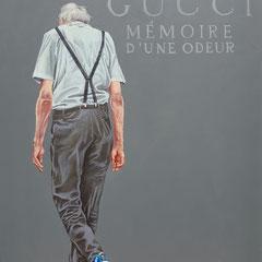 Gemälde 632,GUCCI MEMOIRE, Acryl auf Hartfaserplatte,2019, 30 x 40 cm
