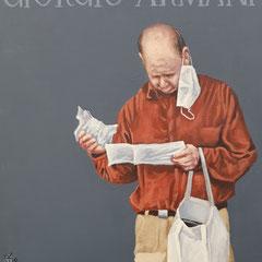 Gemälde 670GIORGIO ARMANI Vol 1,Acryl auf Hartfaserplatte ,2020,30 x 24 cm