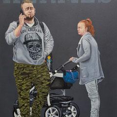 Gemälde 591,HERMES, Acryl auf Hartfaserplatte,2018, 60 x 80 cm