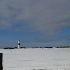Leuchturm von Kampen im Winter