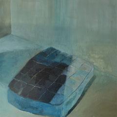 Matelas noir. huile sur toile, 195 x 145 cm, 2017