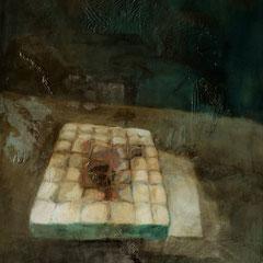 Matelas. huile, goudron, gesso sur toile, 200 x 120cm, 2017