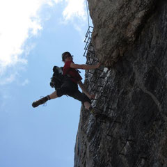 Chrissi cruising the via ferrata!