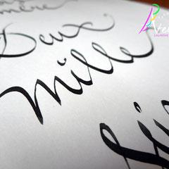 Calligraphie à la main - Carte date importante (papier crème 20 x 20)