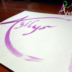 Calligraphie à la main - Carte prénom (papier crème 20 x 20)