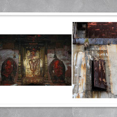 """Bhaktapur, Nepal, January 2010   •   Pripyat, Ukraine, October 2019"". The photo project ""Synergy"". Printing on photo paper 27x40cm. Edition 10 + 2AP. Framed"