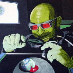 unter der Lupe, 1999, Acrylic on Canvas, 50 x 80 cm