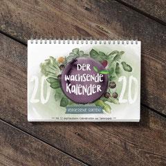 Der Wachsende Kalender 2020 Vergessene Sorten mit einpflanzbarem Samenpapier, illustriert von mir. Der Titel ist eine farbenfrohe Komposition verschiedener Pflanzen, die per Hand mit Aquarellfarbe illustriert sind.
