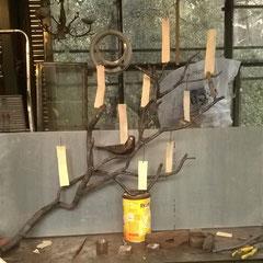 Applique en forme de branche - fer forgé