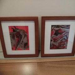 """Pouring"" rood, inclusief lijst 23 x 27 cm € 29 per stuk"