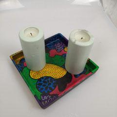 Plateau voor 2 kaarsen 22,5 x 22,5 cm € 29