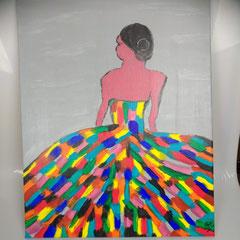 Schilderij op doek, hoogte 50 cm, breedte 40 cm € 125
