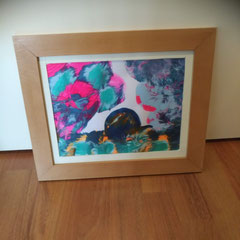Acrylpouring op papier, inclusief houten lijst met glas, 30 cm hoog, 36 cm breed € 45