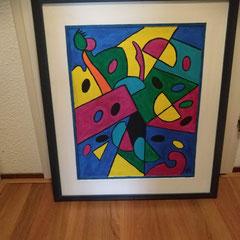 Schilderij in blauwe lijst, 77 cm hoog, 67 cm breed € 89