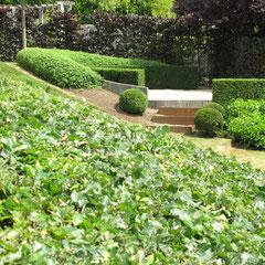 Escaliers de pierre et d 39 acier corten au jardin jean nickell for Au jardin de jean pierre