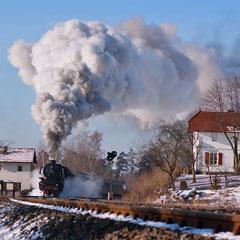 """Winterdampf auf der """"Schiefen Ebene"""" zwischen Neuenmarkt-Wirsberg und Marktschorgast (Foto: U. Kragl)"""