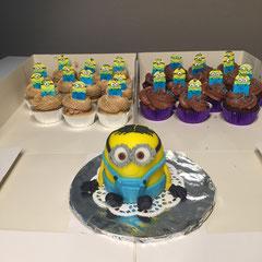 Mini-Minion und Minion-Cupcakes